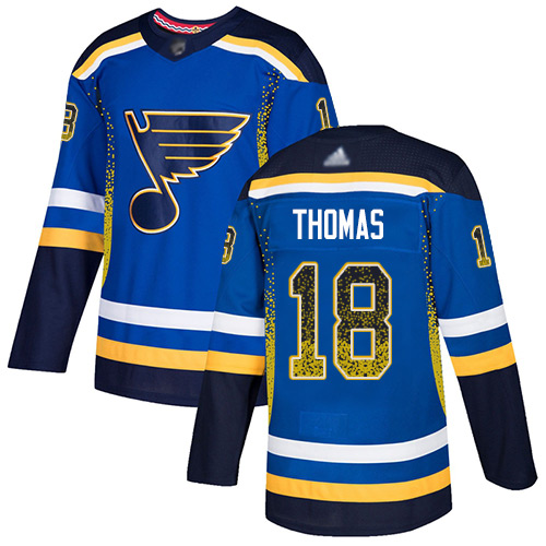 Blues #18 Robert Thomas Blue Home Authentic Drift Fashion Stitched Hockey