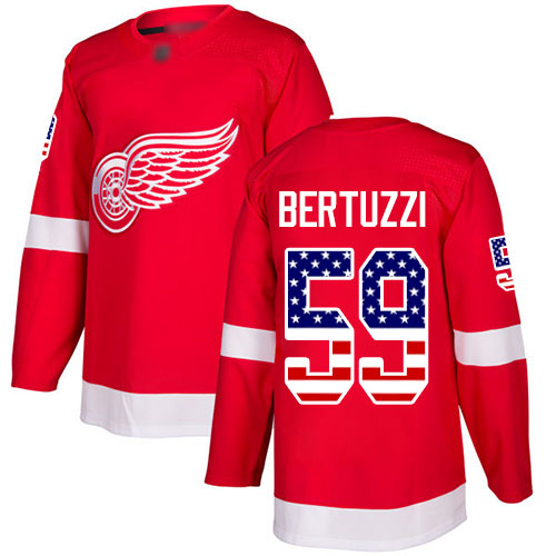 Red Wings #59 Tyler Bertuzzi Red Home Authentic USA Flag