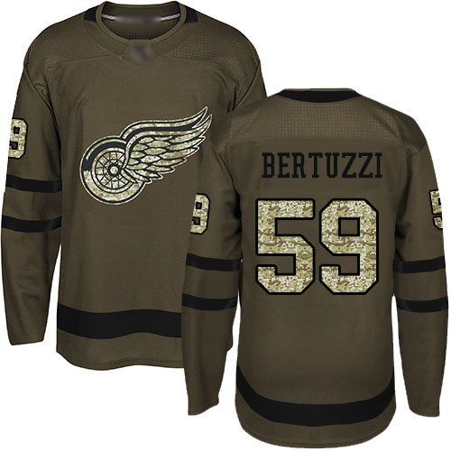 Red Wings #59 Tyler Bertuzzi Green Salute to Service Stitched Hockey