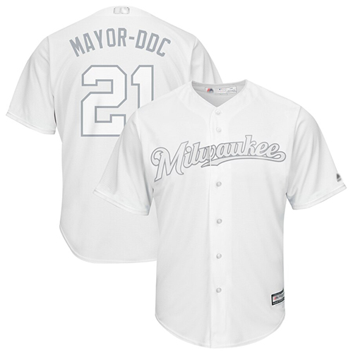 Brewers #21 Travis Shaw White Mayor-DDC Players Weekend Cool Base