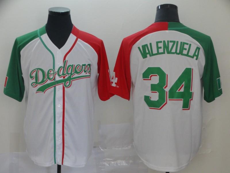 Dodgers #34 Fernando Valenzuela White Red Green Split Cool Base