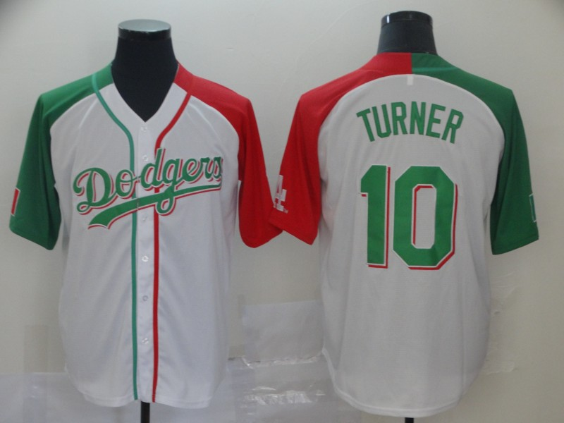 Dodgers #10 Justin Turner White Red Green Split Cool Base Stitched