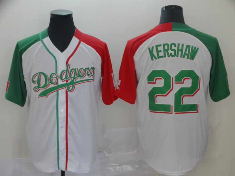 Dodgers #22 Clayton Kershaw White Red Green Split Cool Base Stitched Baseball Jersey