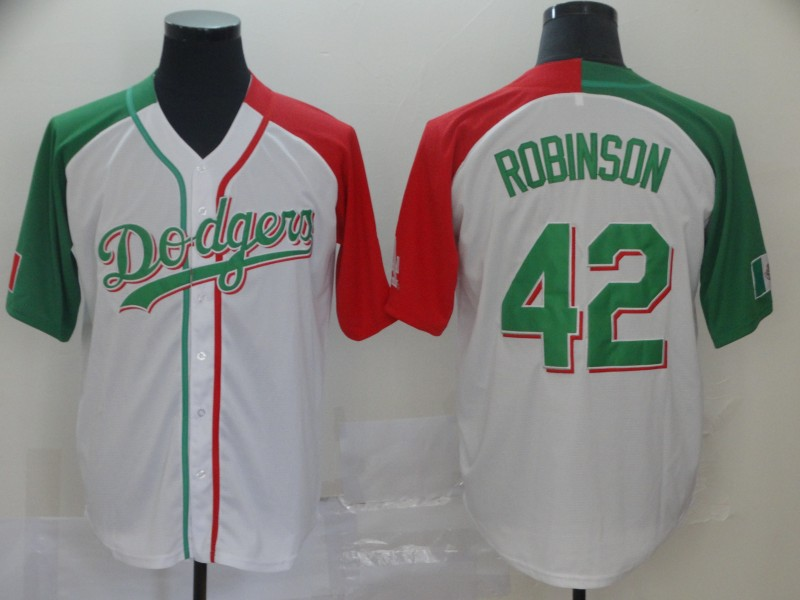 Dodgers #42 Jackie Robinson White Red Green Split Cool Base