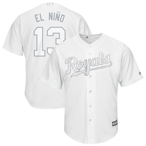 Royals #13 Salvador Perez White El Nino Players Weekend Cool Base Stitched Baseball Jersey