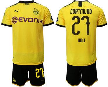 2019-20 Dortmund 27 WOLF Home Soccer Jersey