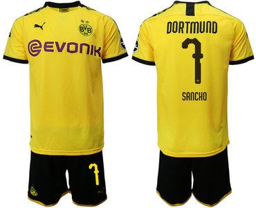 2019-20 Dortmund 7 SANCHO Home Soccer Jersey