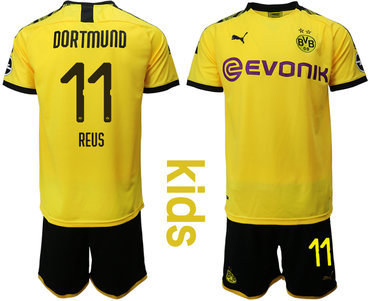 2019-20 Dortmund 11 REUS Youth Home Soccer Jersey