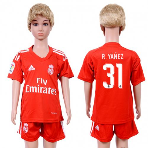 Real Madrid #31 R.Yanez Red Goalkeeper Kid Soccer Club Jersey