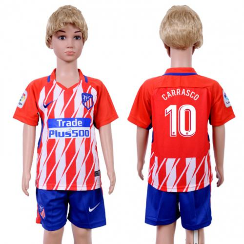 Atletico Madrid #10 Carrasco Home Kid Soccer Club Jersey