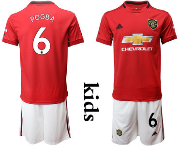 2019-20 Manchester United 6 POGBA Youth Home Soccer Jersey