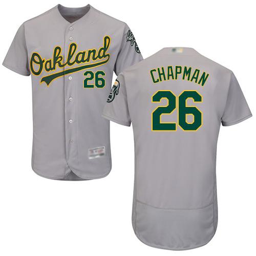 Men's Oakland Athletics #26 Matt Chapman Grey Flexbase Authentic Collection Stitched Baseball Jersey