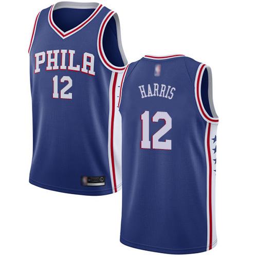 76ers #12 Tobias Harris Blue Basketball Swingman Icon Edition Jersey