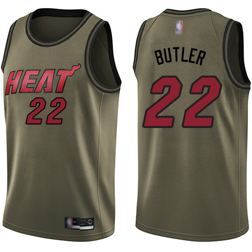 Heat #22 Jimmy Butler Green Basketball Swingman Salute to