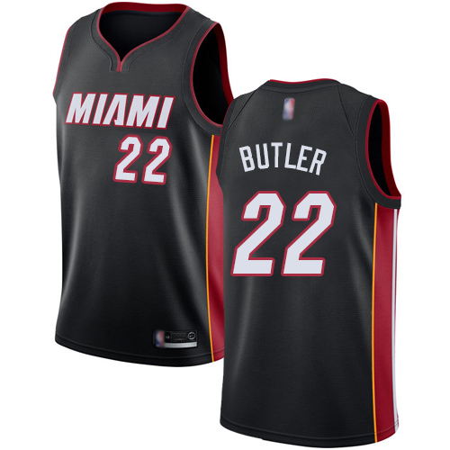 Heat #22 Jimmy Butler Black Basketball Swingman Icon Edition