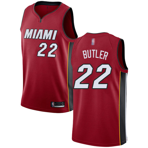 Heat #22 Jimmy Butler Red Basketball Swingman Statement Edition Jersey