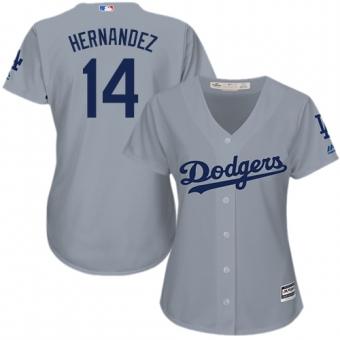 Women's Authentic Los Angeles Dodgers #14 Enrique Hernandez Grey Cool Base White Jersey