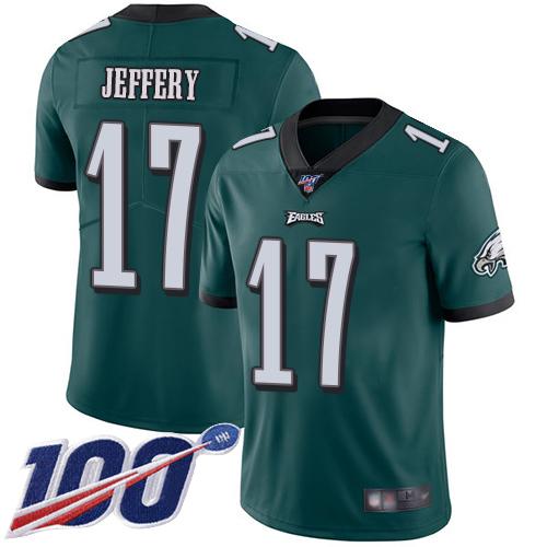 Nike Eagles #17 Alshon Jeffery Midnight Green Team Color Men's Stitched NFL 100th Season Vapor Limited Jersey