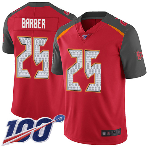Nike Buccaneers #25 Peyton Barber Red Team Color Men's Stitched NFL 100th Season Vapor Limited Jersey