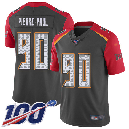 Nike Buccaneers #90 Jason Pierre-Paul Gray Men's Stitched NFL Limited Inverted Legend 100th Season Jersey