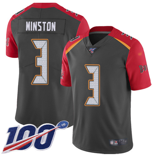 Nike Buccaneers #3 Jameis Winston Gray Men's Stitched NFL Limited Inverted Legend 100th Season Jersey