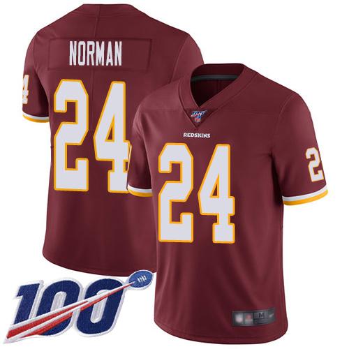 Nike Redskins #24 Josh Norman Burgundy Red Team Color Men's Stitched NFL 100th Season Vapor Limited Jersey