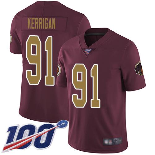 Nike Redskins #91 Ryan Kerrigan Burgundy Red Alternate Men's Stitched NFL 100th Season Vapor Limited Jersey