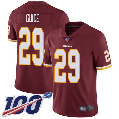 Nike Redskins #29 Derrius Guice Burgundy Red Team Color Men's Stitched NFL 100th Season Vapor Limited Jersey