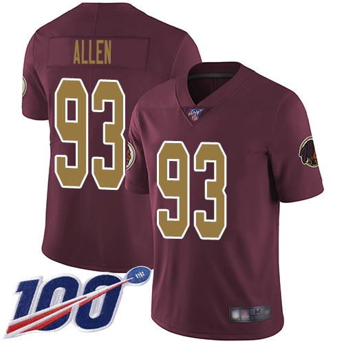 Nike Redskins #93 Jonathan Allen Burgundy Red Alternate Men's Stitched NFL 100th Season Vapor Limited Jersey
