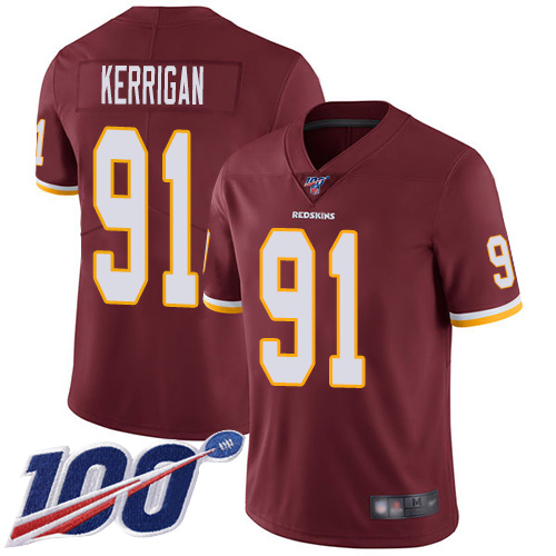 Nike Redskins #91 Ryan Kerrigan Burgundy Red Team Color Men's Stitched NFL 100th Season Vapor Limited Jersey