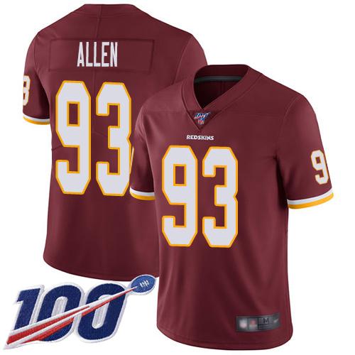 Nike Redskins #93 Jonathan Allen Burgundy Red Team Color Men's Stitched NFL 100th Season Vapor Limited Jersey