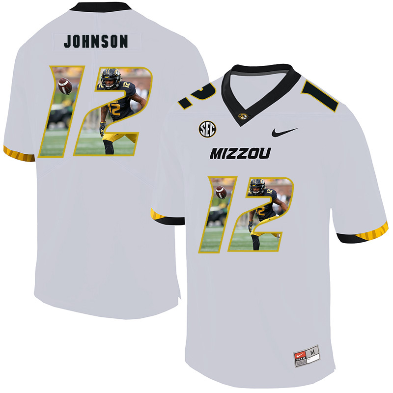 Missouri Tigers 12 Johnathon Johnson White Nike Fashion College Football Jersey