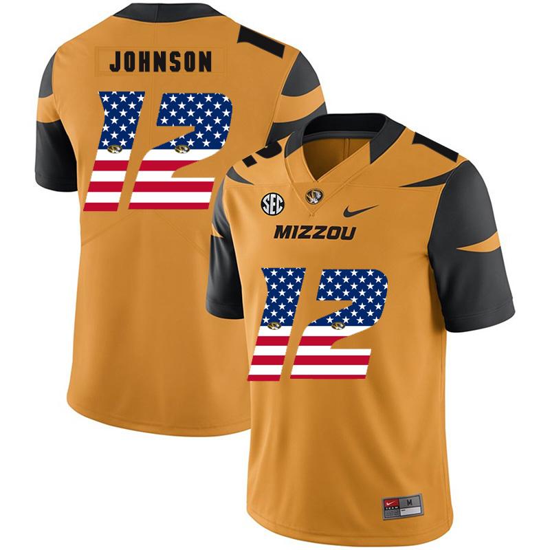 Missouri Tigers 12 Johnathon Johnson Gold USA Flag Nike College Football Jersey