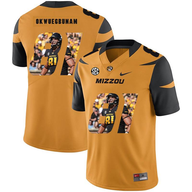 Missouri Tigers 81 Albert Okwuegbunam Gold Nike Fashion College Football Jersey