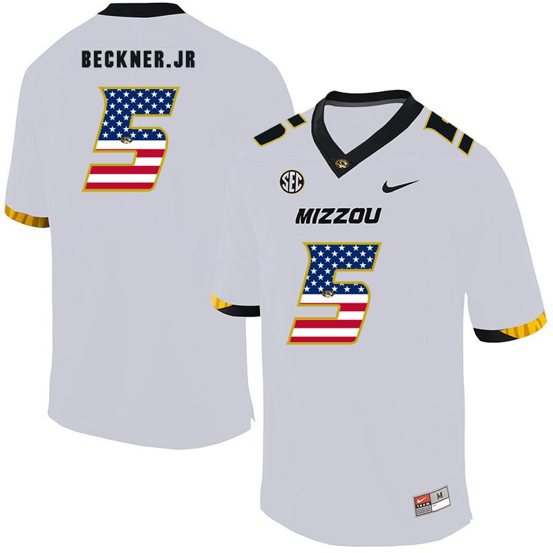Missouri Tigers 5 Terry Beckner Jr. White USA Flag Nike College Football Jersey