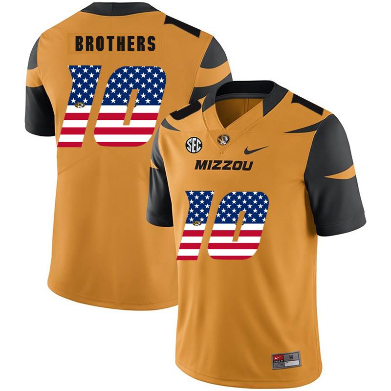 Missouri Tigers 10 Kentrell Brothers Gold USA Flag Nike College Football Jersey