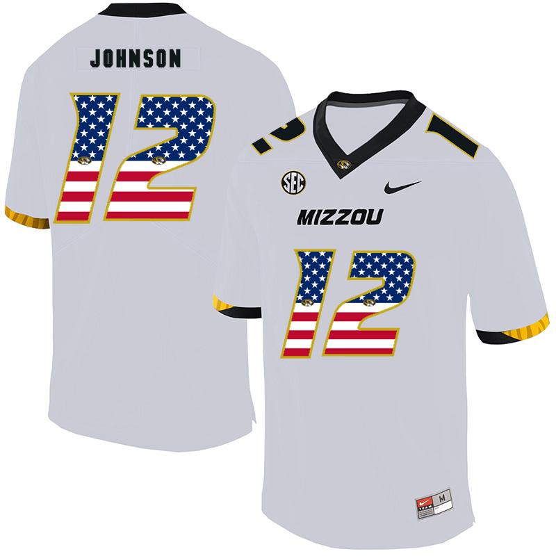 Missouri Tigers 12 Johnathon Johnson White USA Flag Nike College Football Jersey
