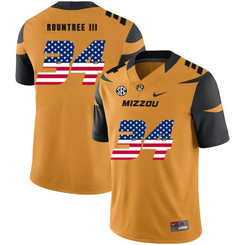 Missouri Tigers 34 Larry Rountree III Gold USA Flag Nike College Football Jersey