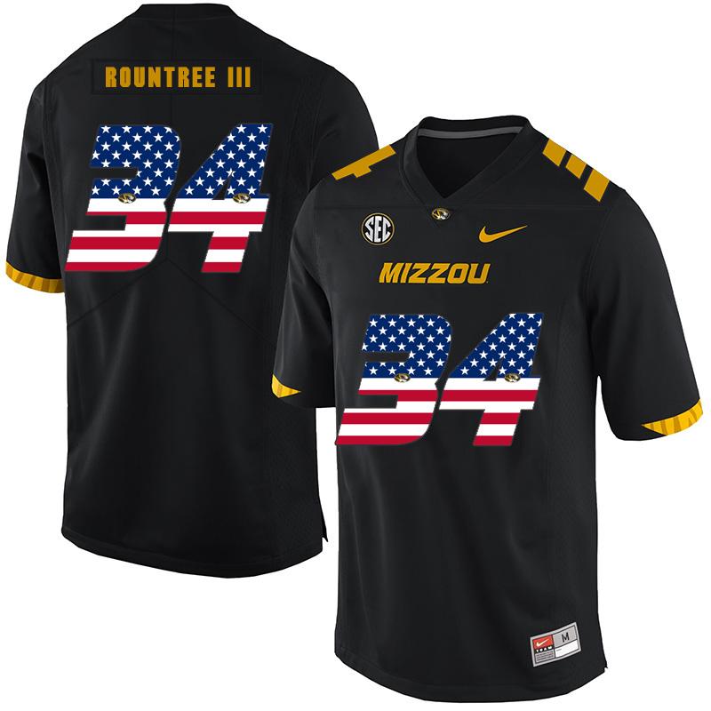 Missouri Tigers 34 Larry Rountree III Black USA Flag Nike College Football Jersey