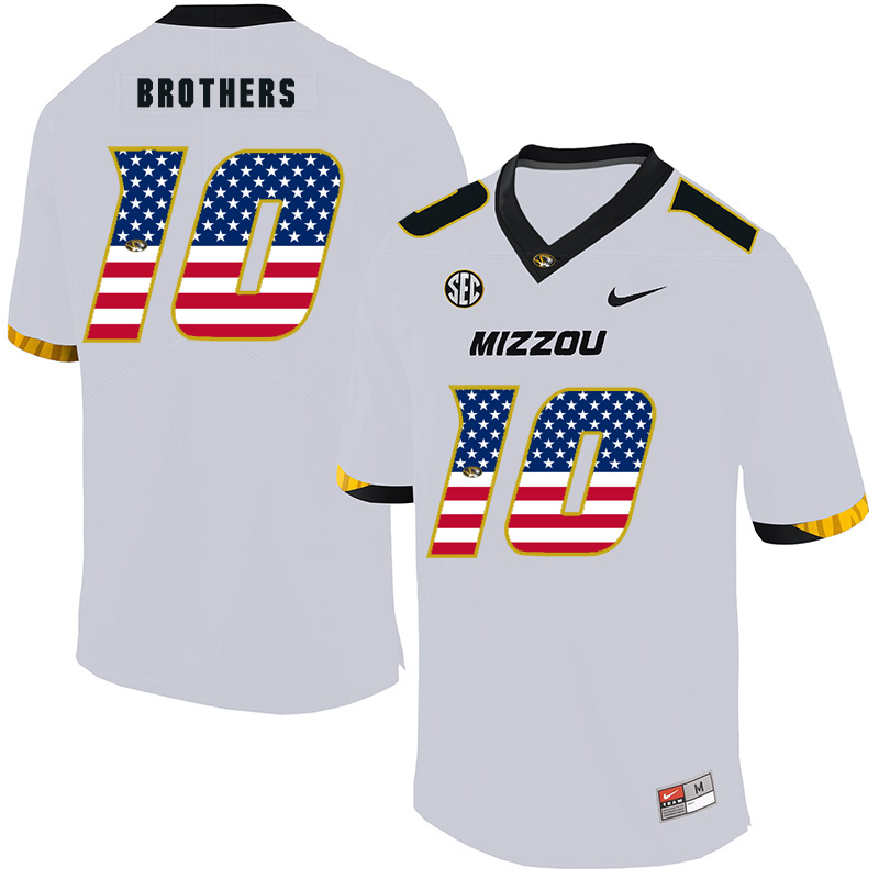 Missouri Tigers 10 Kentrell Brothers White USA Flag Nike College Football Jersey