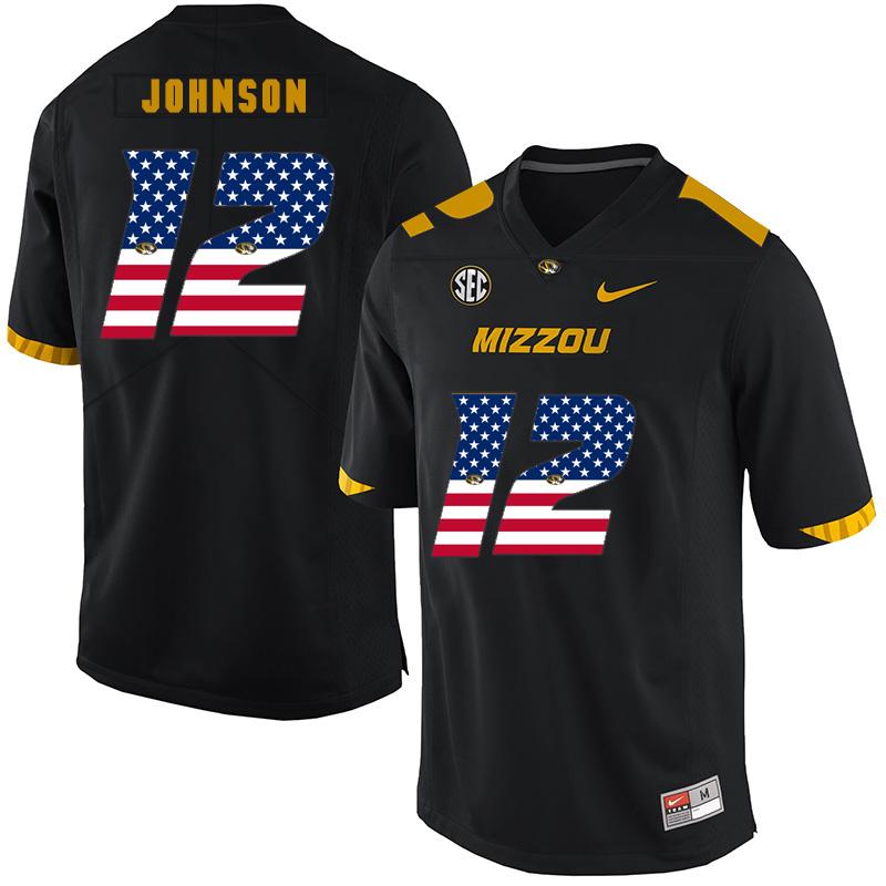 Missouri Tigers 12 Johnathon Johnson Black USA Flag Nike College Football Jersey