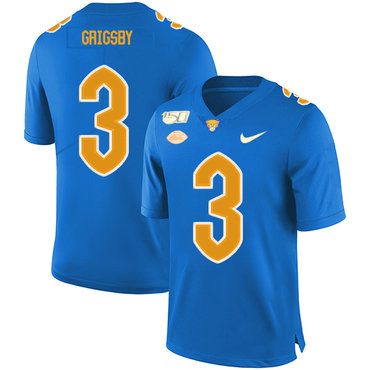 Pittsburgh Panthers 3 Nicholas Grigsby Blue 150th Anniversary Patch Nike College Football Jersey