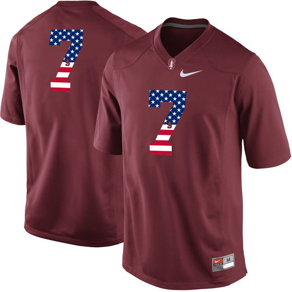 Stanford Cardinal No.7 Red USA Flag College Football Limited Jersey