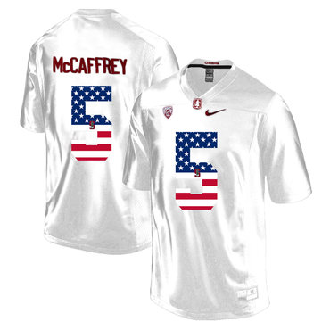 Stanford Cardinal 5 Christian McCaffrey White USA Flag College Football Limited Jersey