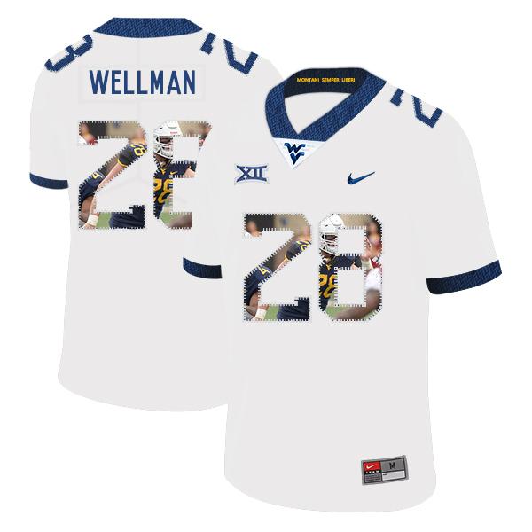 West Virginia Mountaineers 28 Elijah Wellman White Fashion College Football Jersey