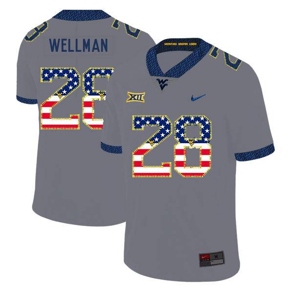 West Virginia Mountaineers 28 Elijah Wellman Gray USA Flag College Football Jersey