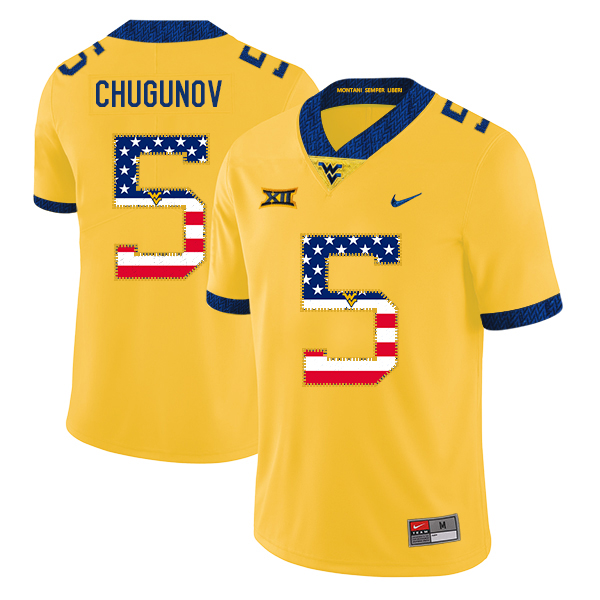 West Virginia Mountaineers 5 Chris Chugunov Yellow USA Flag College Football Jersey