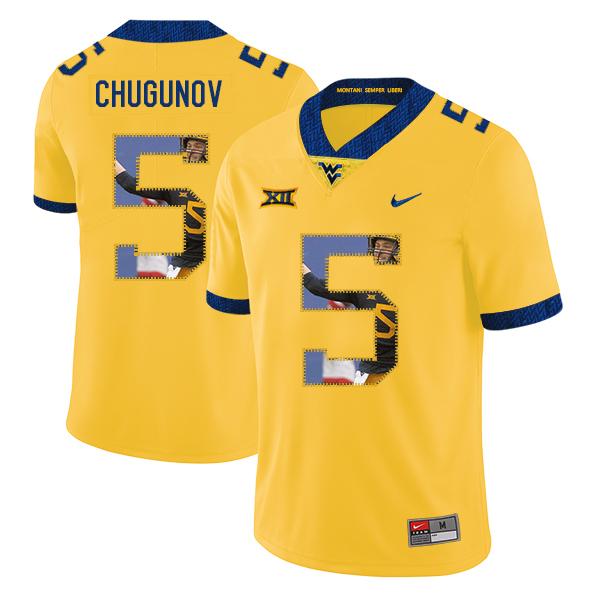 West Virginia Mountaineers 5 Chris Chugunov Yellow Fashion College Football Jersey