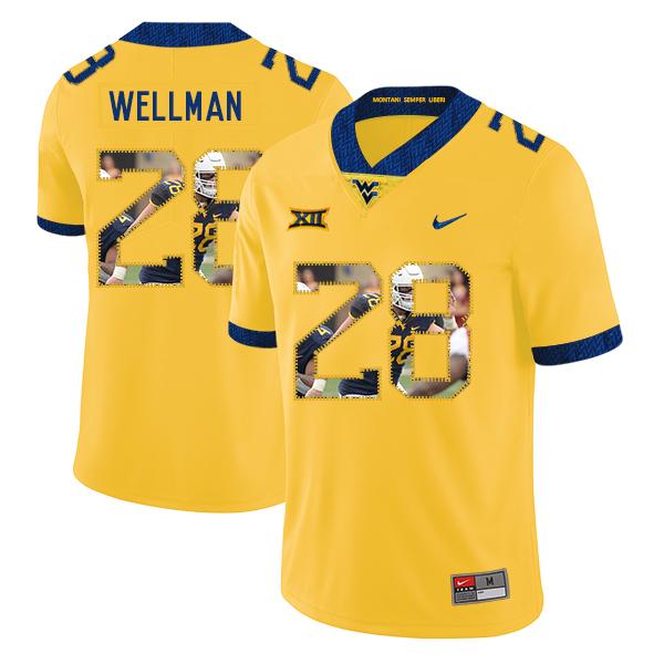 West Virginia Mountaineers 28 Elijah Wellman Yellow Fashion College Football Jersey
