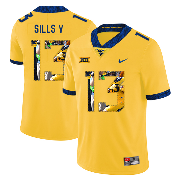 West Virginia Mountaineers 13 David Sills V Yellow Fashion College Football Jersey